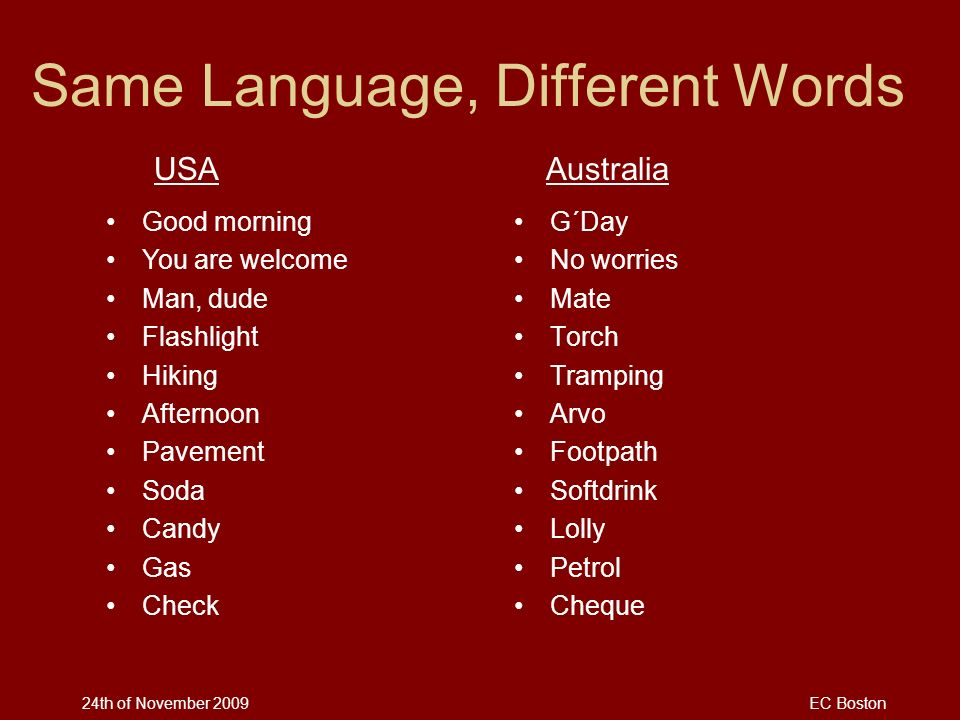 Same Language, Different Words