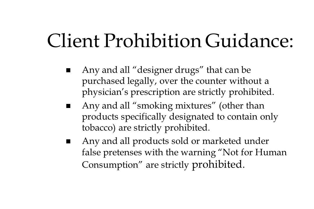 Client Prohibition Guidance: