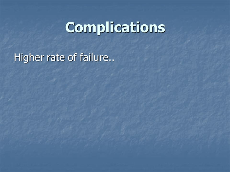 Complications Higher rate of failure..