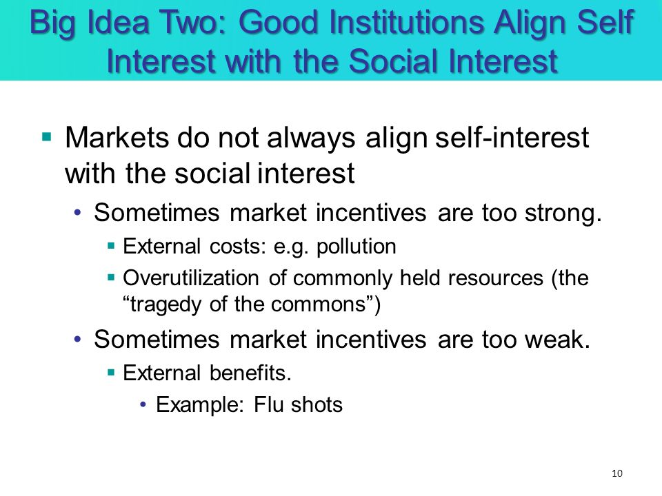 Big Idea Two: Good Institutions Align Self Interest with the Social Interest