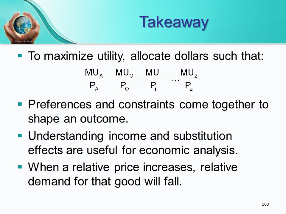 Takeaway To maximize utility, allocate dollars such that: