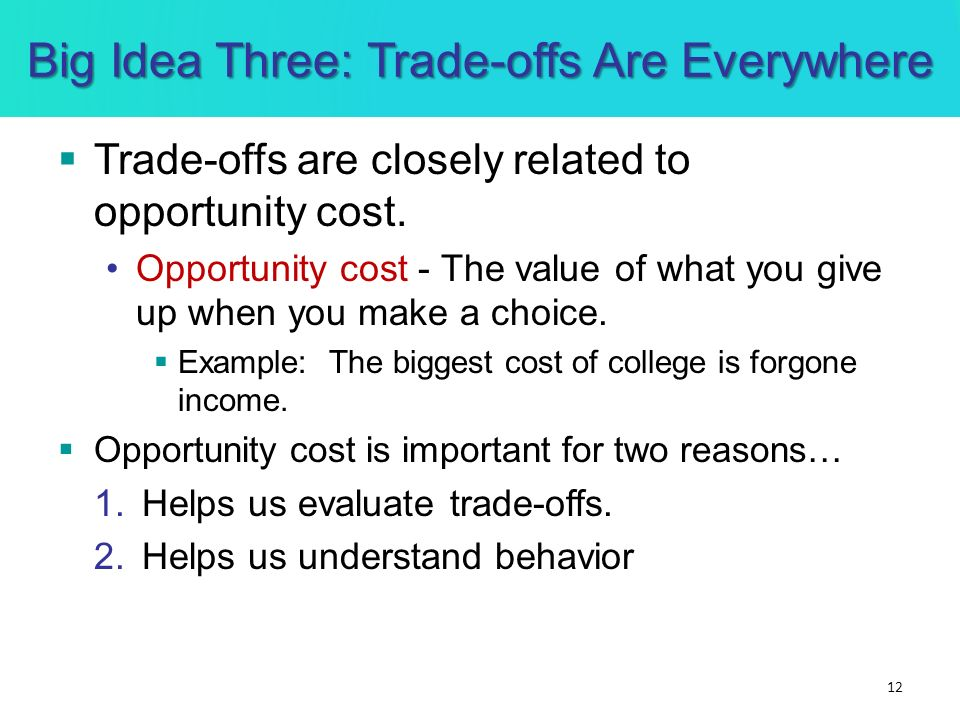 Big Idea Three: Trade-offs Are Everywhere