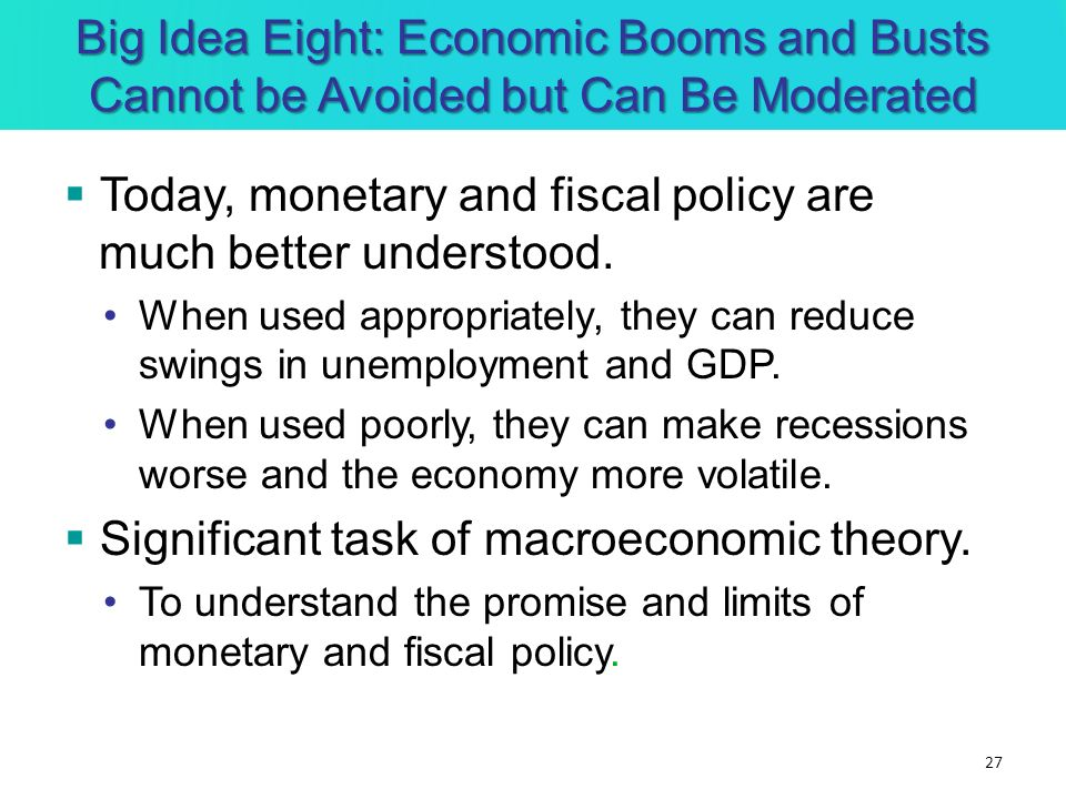 Today, monetary and fiscal policy are much better understood.