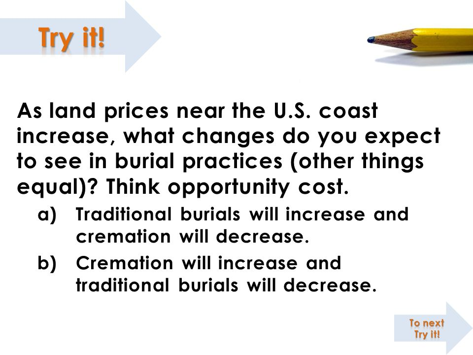 ; As land prices near the U.S. coast increase, what changes do you expect to see in burial practices (other things equal) Think opportunity cost.