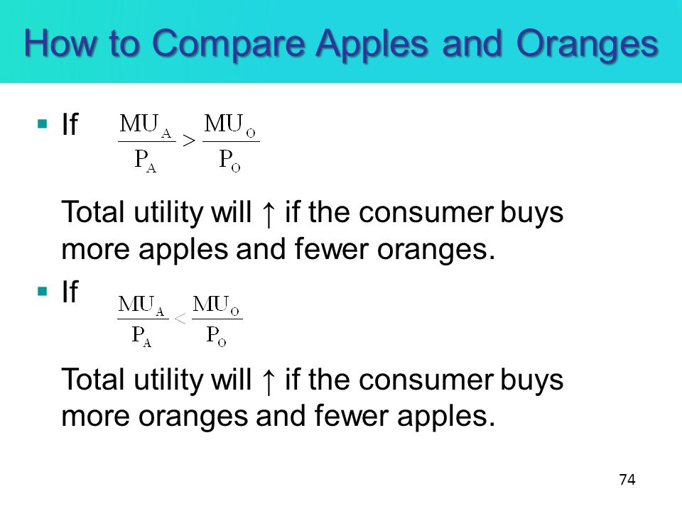 How to Compare Apples and Oranges
