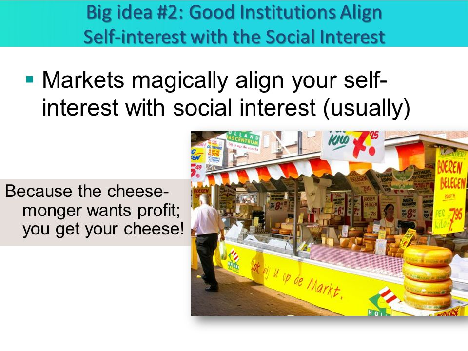 Big idea #2: Good Institutions Align Self-interest with the Social Interest