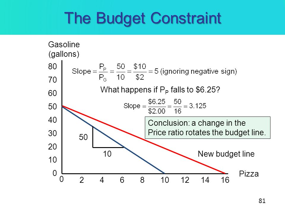 The Budget Constraint Gasoline (gallons) 80 70