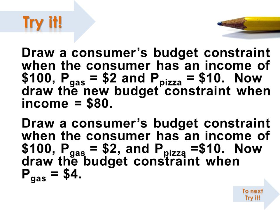 Draw a consumer's budget constraint when the consumer has an income of $100, Pgas = $2 and Ppizza = $10. Now draw the new budget constraint when income = $80.