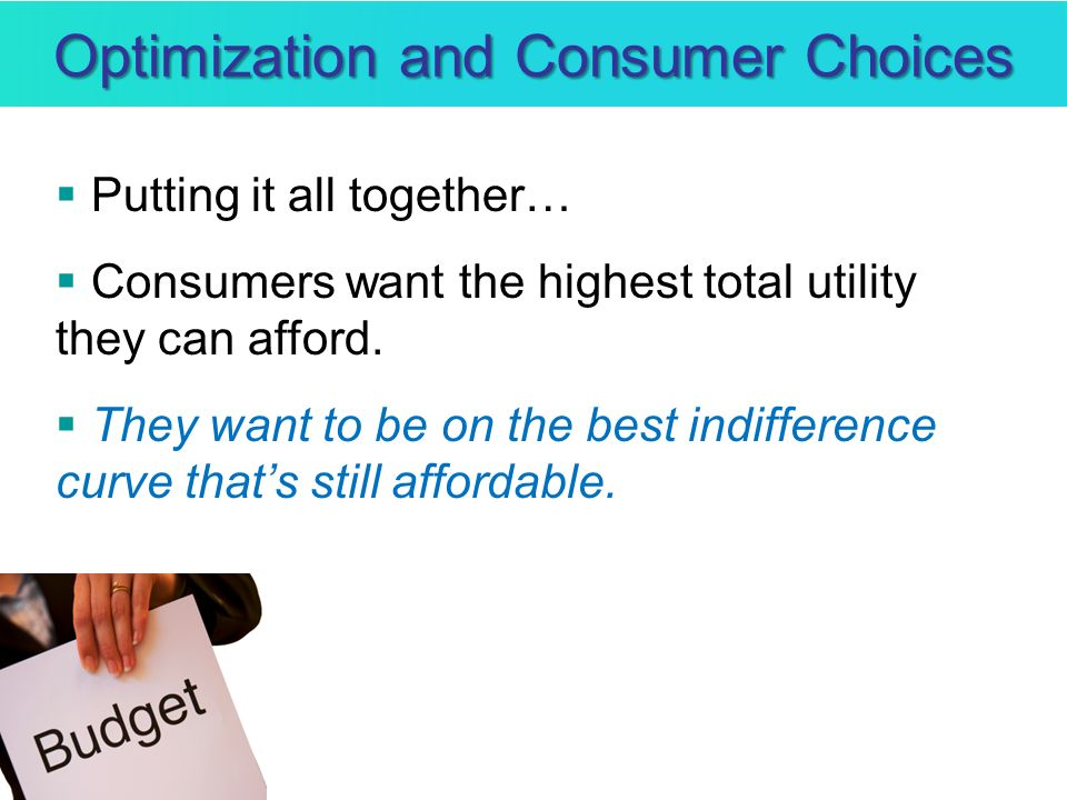 Optimization and Consumer Choices