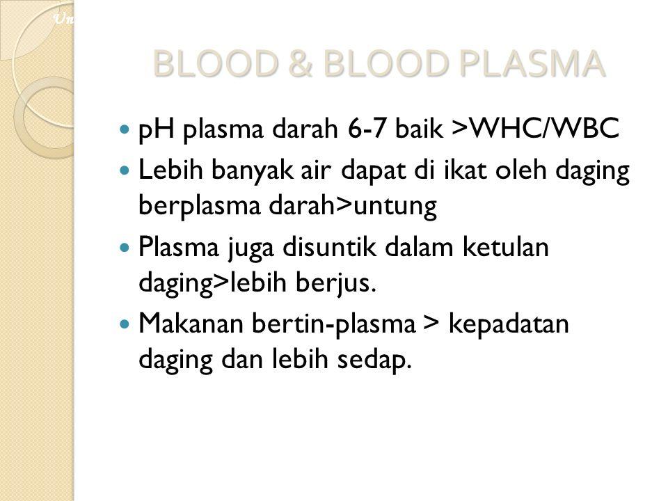 BLOOD & BLOOD PLASMA pH plasma darah 6-7 baik >WHC/WBC