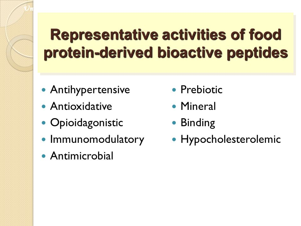 Representative activities of food protein-derived bioactive peptides