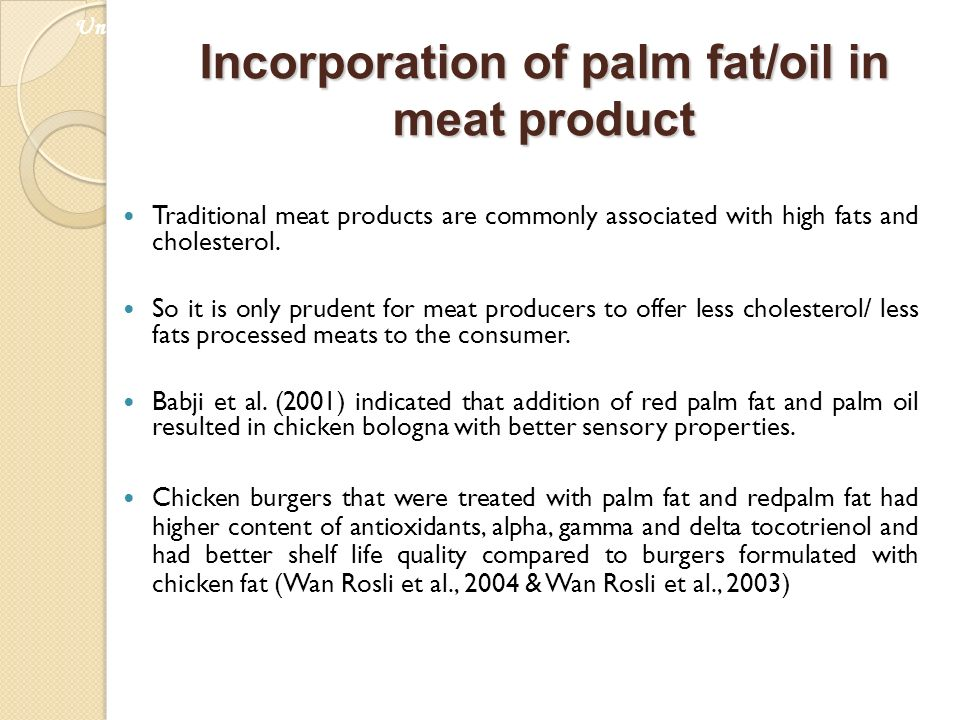 Incorporation of palm fat/oil in meat product