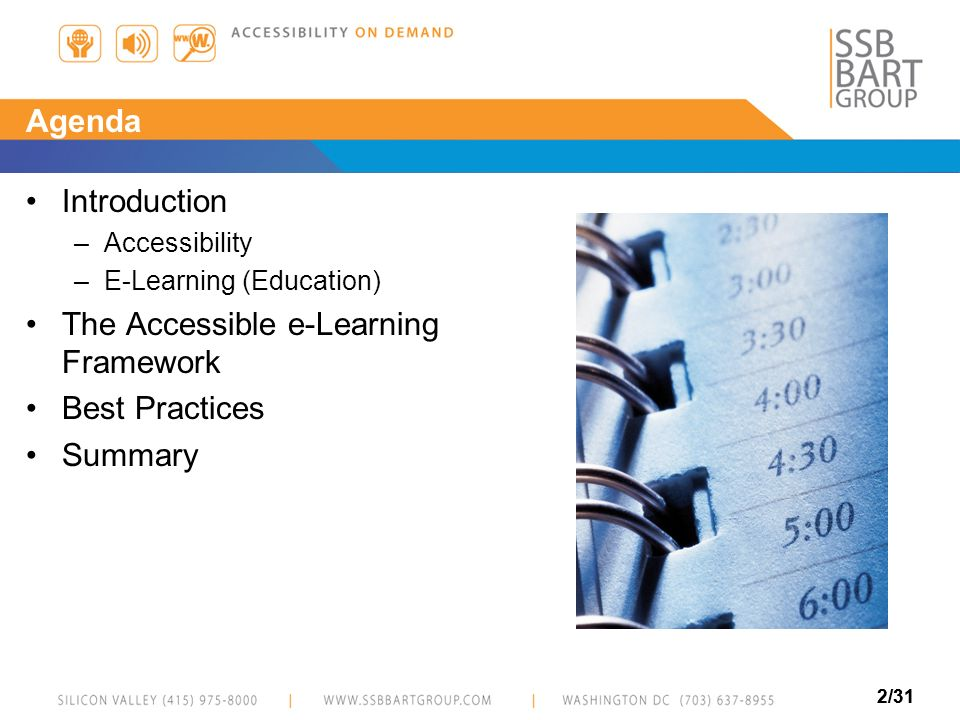 The Accessible e-Learning Framework Best Practices Summary