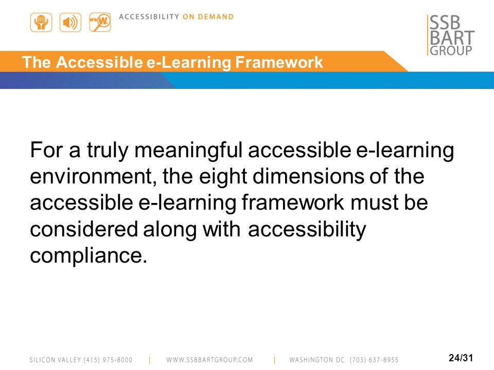 The Accessible e-Learning Framework