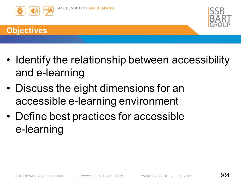 Identify the relationship between accessibility and e-learning