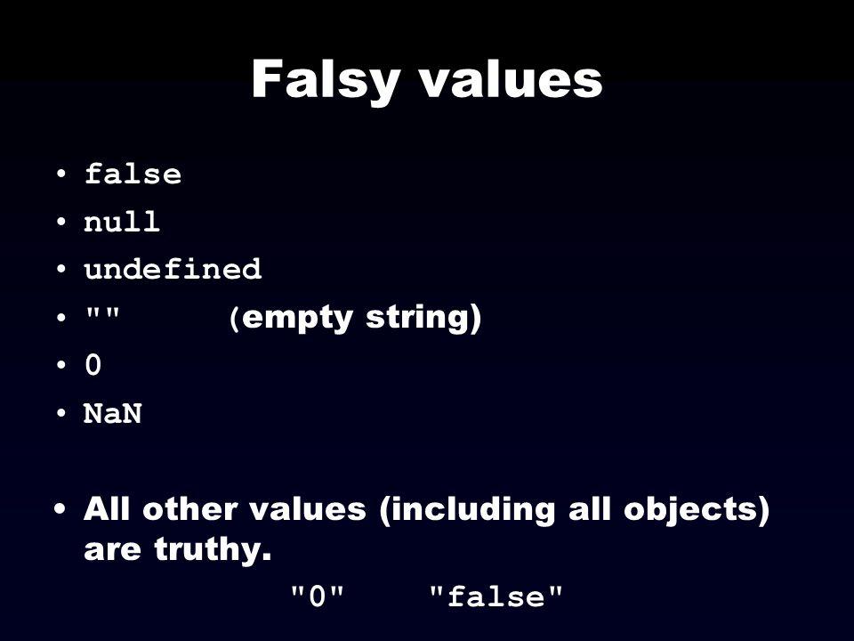 Falsy values false null undefined (empty string) NaN