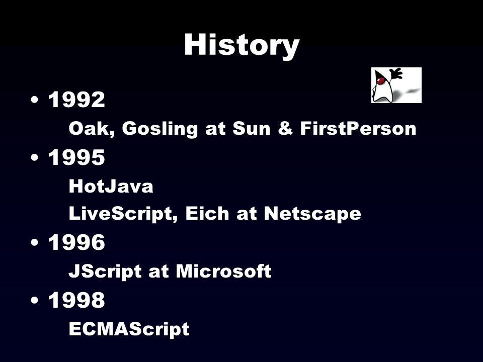 History 1992 1995 1996 1998 Oak, Gosling at Sun & FirstPerson HotJava