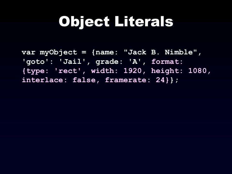 Object Literals