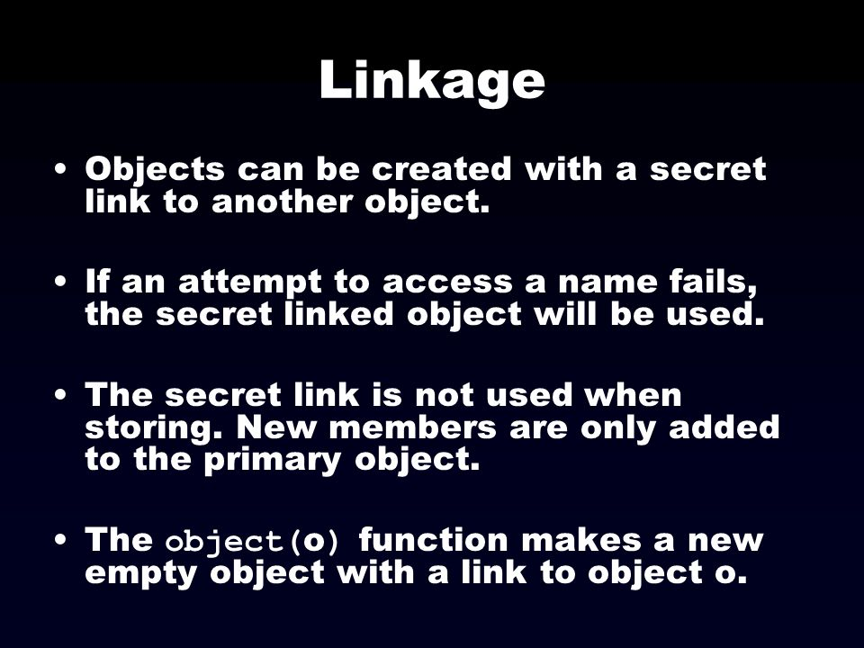 Linkage Objects can be created with a secret link to another object.