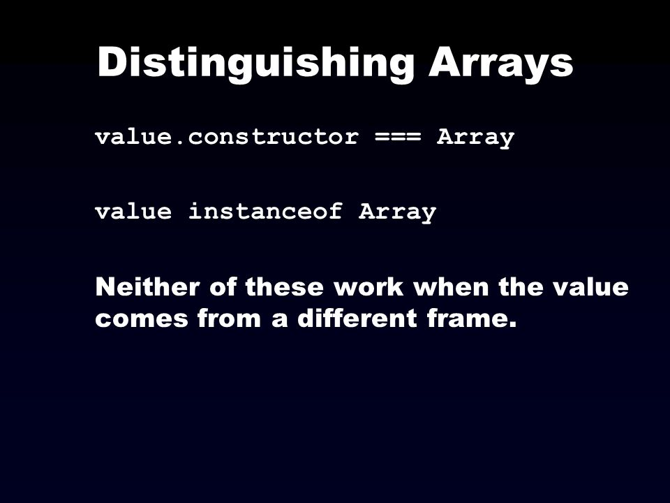 Distinguishing Arrays