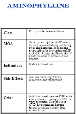 aminophylline Class MOA Indications Side Effects Other