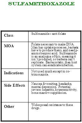 Sulfamethoxazole Class MOA Indications Side Effects Other