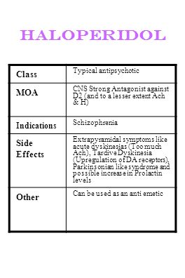 haloperidol Class MOA Side Effects Other Indications