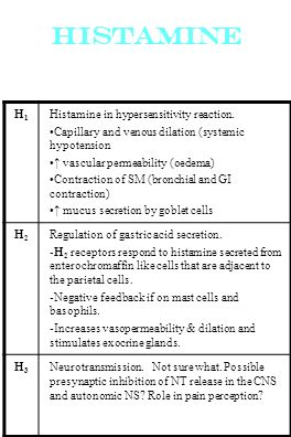Histamine H1 Histamine in hypersensitivity reaction.