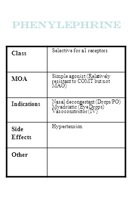 Phenylephrine Class MOA Side Effects Other Indications