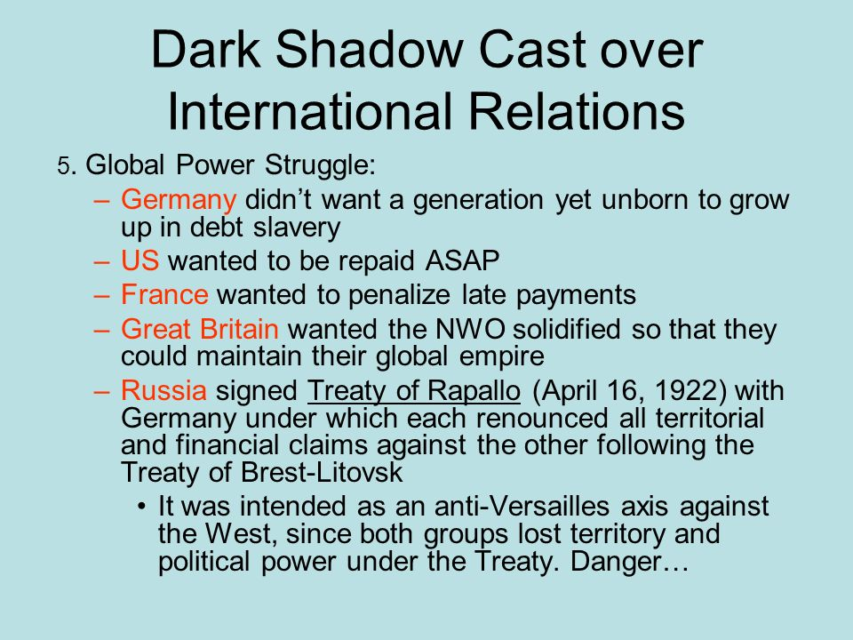 Dark Shadow Cast over International Relations