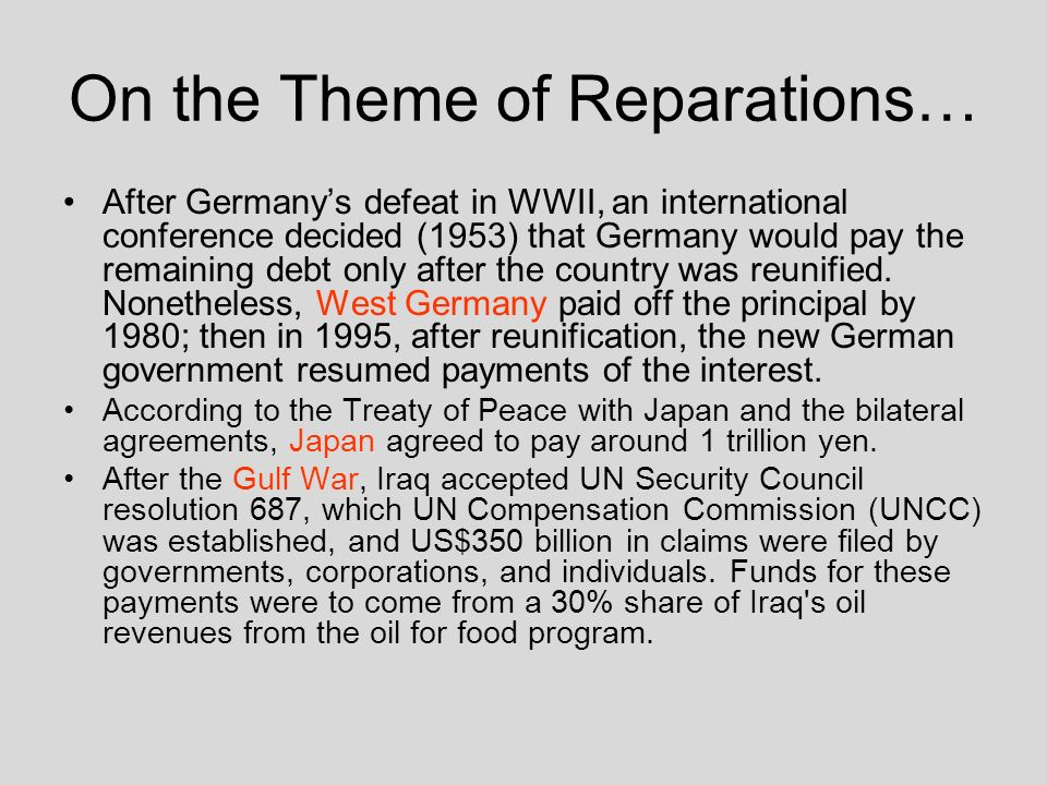 On the Theme of Reparations…