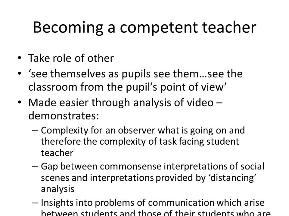 Becoming a competent teacher