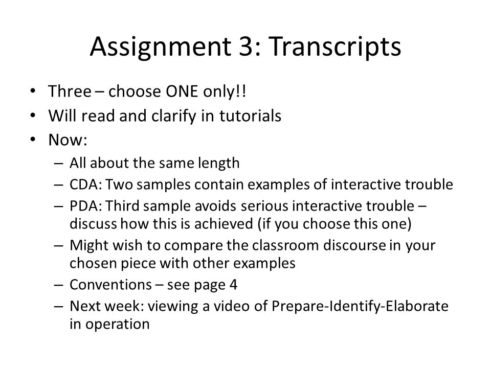 Assignment 3: Transcripts