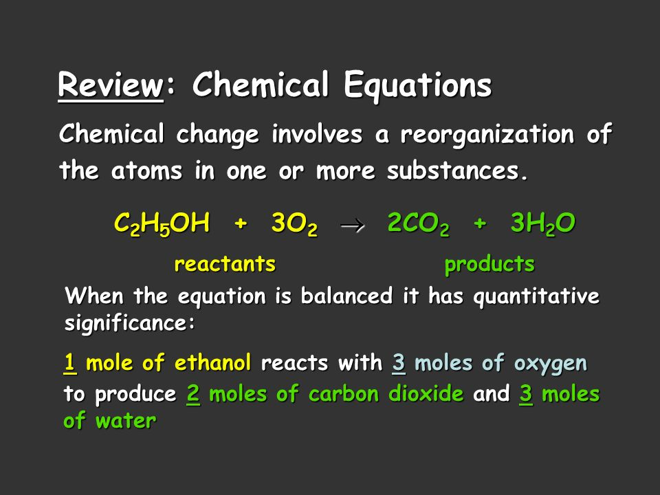Review: Chemical Equations