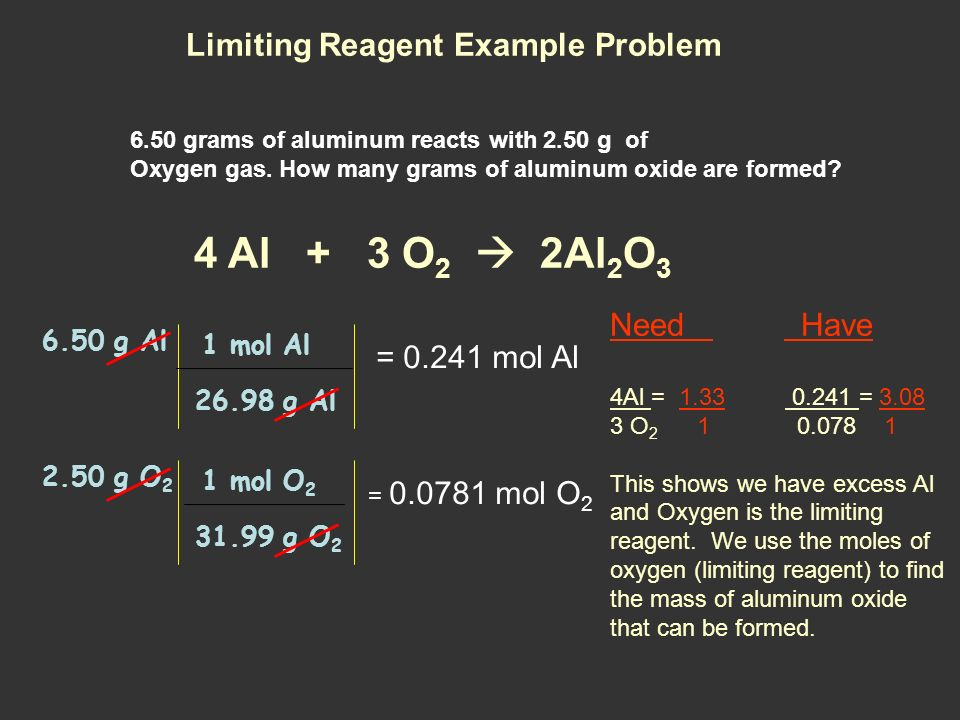 4 Al + 3 O2  2Al2O3 Limiting Reagent Example Problem Need Have