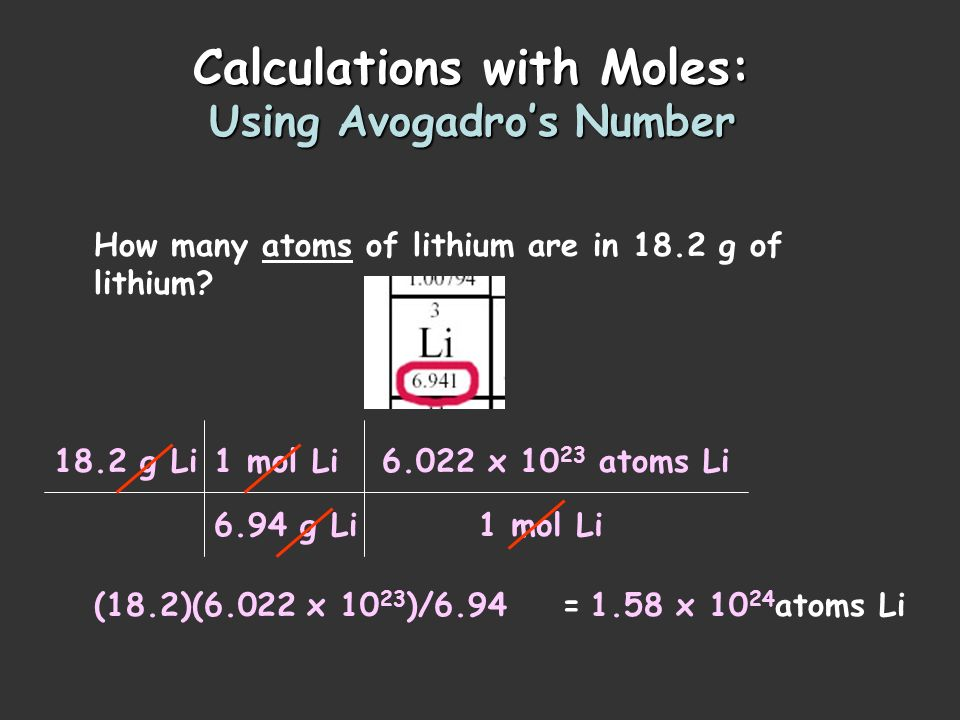 Calculations with Moles: Using Avogadro's Number