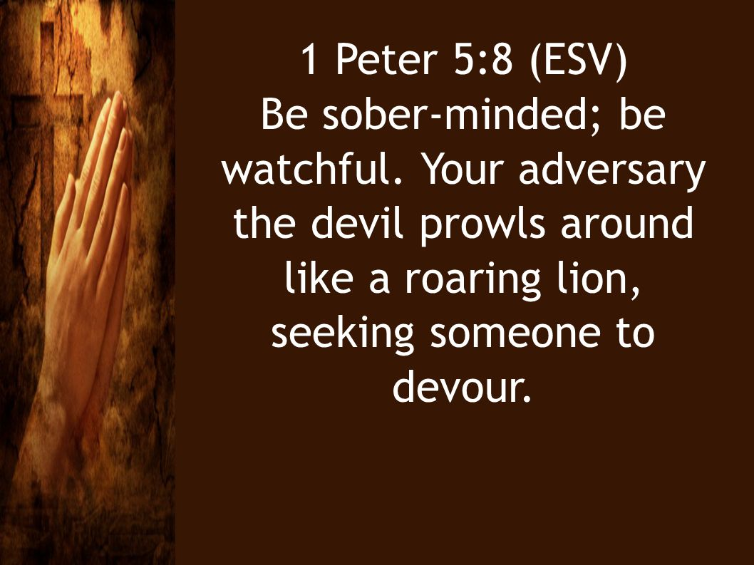 1 Peter 5:8 (ESV) Be sober-minded; be watchful.
