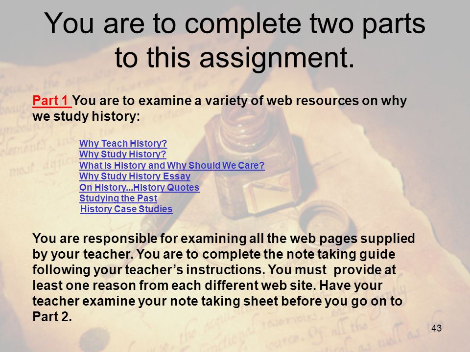 You are to complete two parts to this assignment.