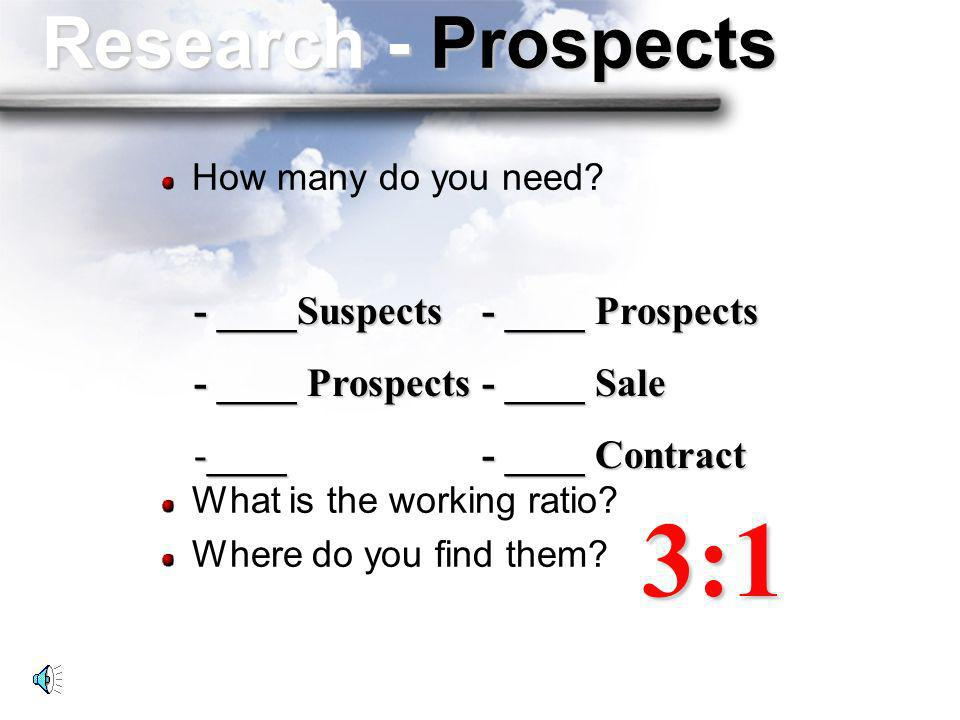 3:1 Research - Prospects - ____Suspects - ____ Prospects