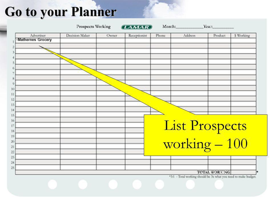 List Prospects working – 100