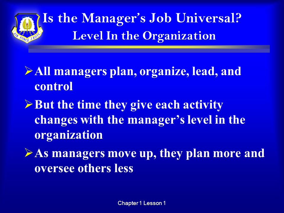 Is the Manager's Job Universal Level In the Organization