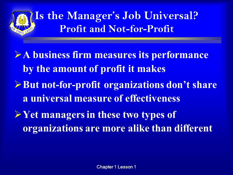 Is the Manager's Job Universal Profit and Not-for-Profit