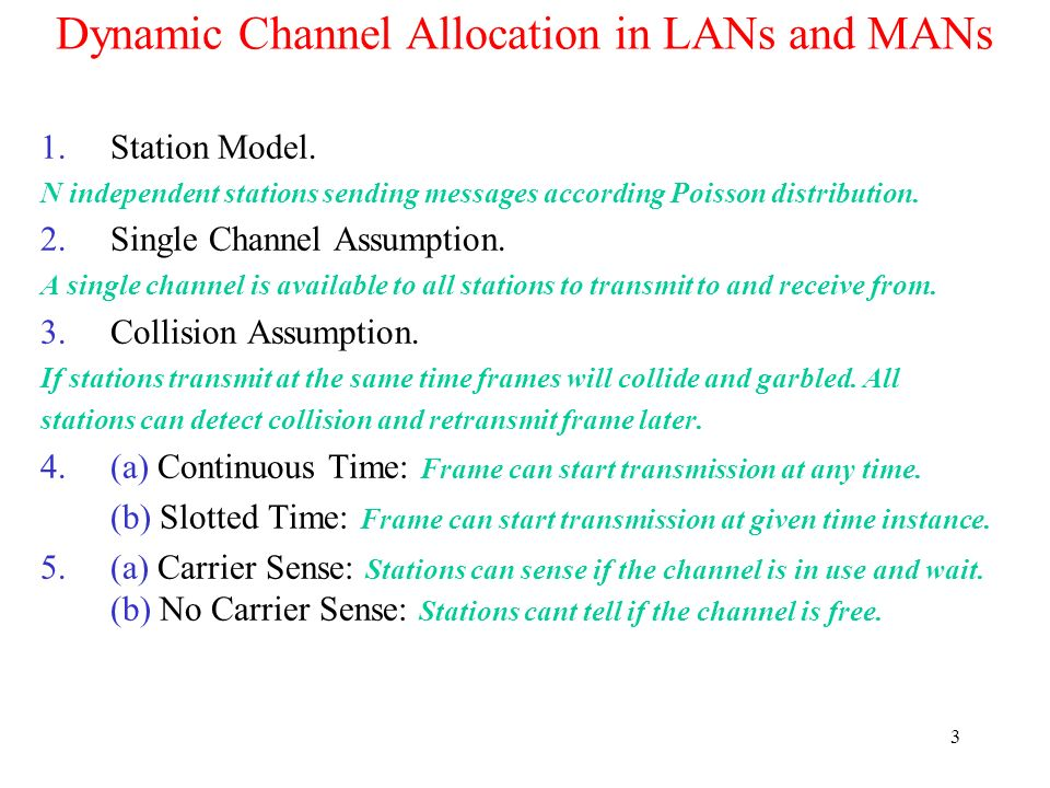 Dynamic Channel Allocation in LANs and MANs