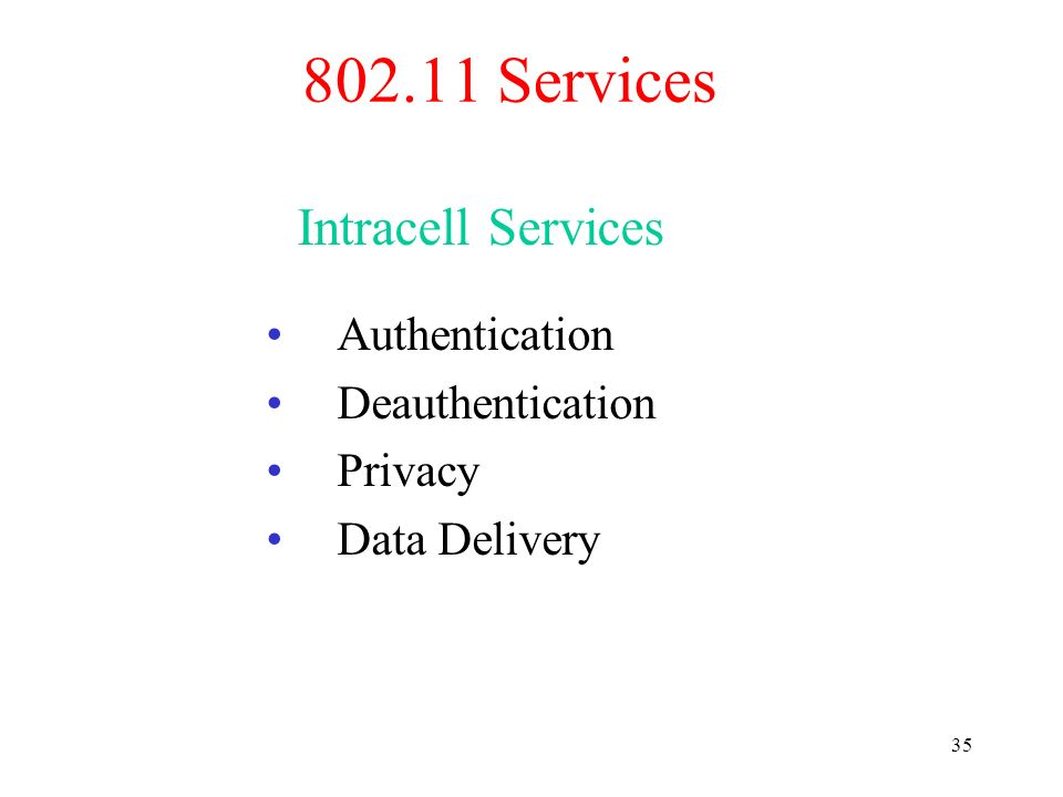 802.11 Services Intracell Services Authentication Deauthentication