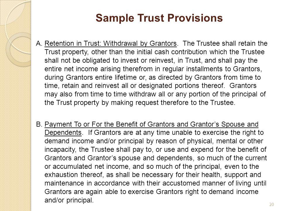Sample Trust Provisions
