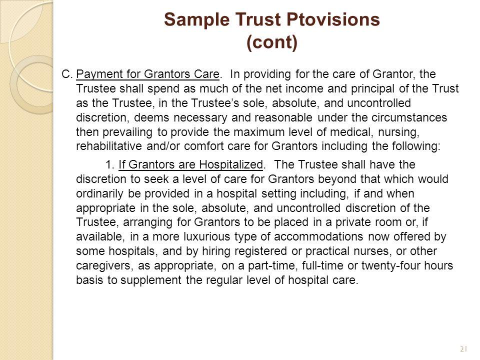 Sample Trust Ptovisions (cont)