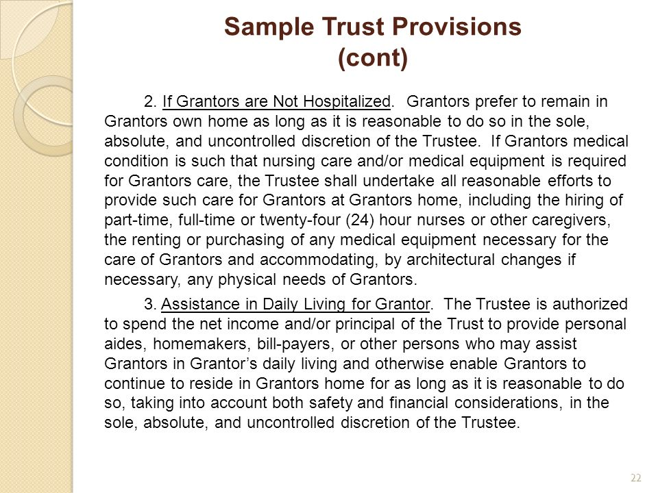 Sample Trust Provisions (cont)