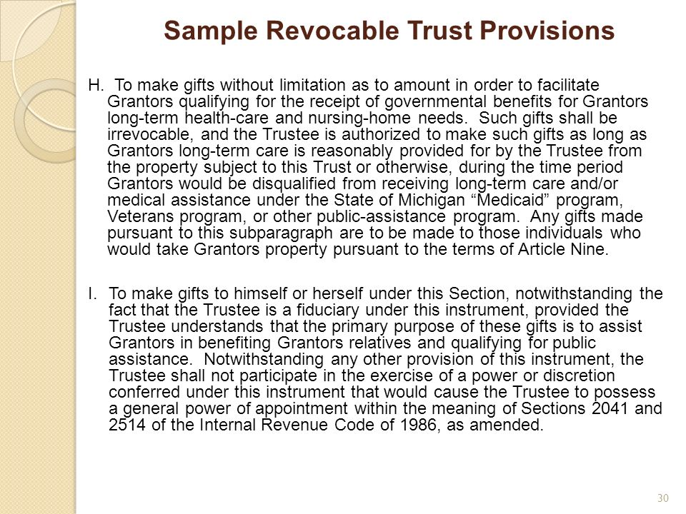 Sample Revocable Trust Provisions