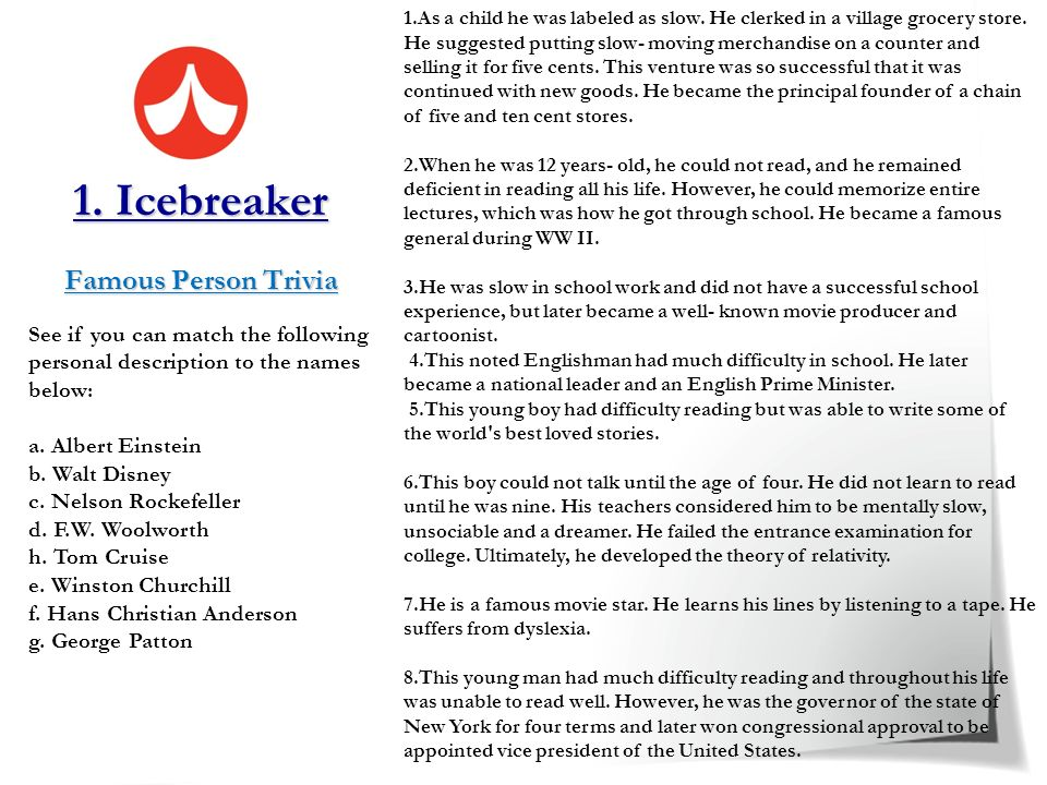 1. Icebreaker Famous Person Trivia