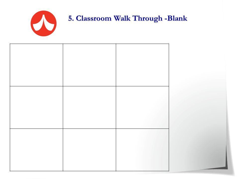 5. Classroom Walk Through -Blank